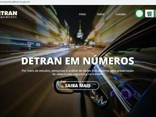 Capa do site do Detran que disponibiliza dados sobre o trânsito. (Foto: Reprodução/Internet).