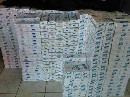 PM retém 2,5 mil maços de cigarros contrabandeados do Paraguai