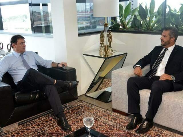Presidente da Fiems e superintendente do aeroporto se reuniram hoje (Foto: Fiems)