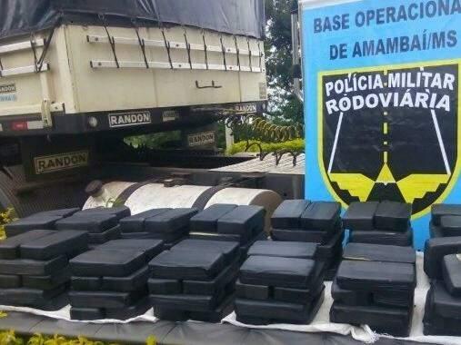 Cocaína pega em Ponta Porã seria levada para Curitiba. (Foto: PRE)