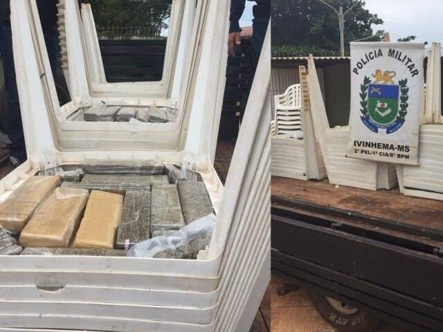 Droga estava em fundo falso de mesas de plástico (Foto: Nova News)