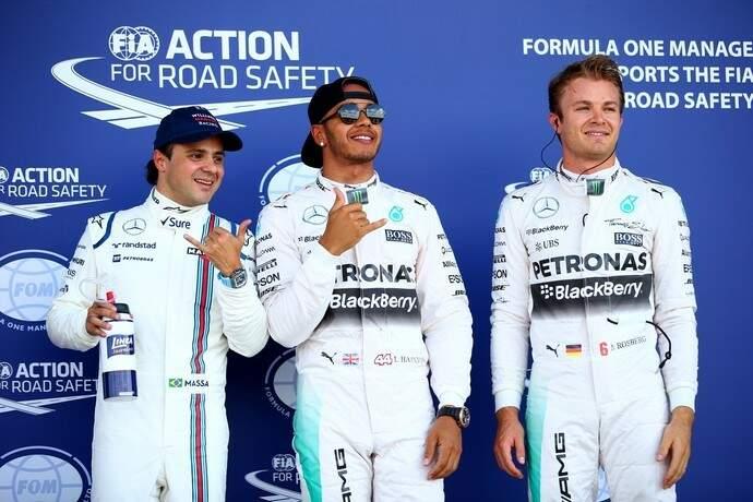 Massa, Hamilton e Rosberg, o trio sairá na frente amanhã no GP da Inglaterra (Foto: Foto: Getty Images)
