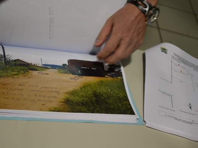 Laudo mostra as rotas que traficante tinha para desviar da vítima. (Foto: Pedro Peralta)