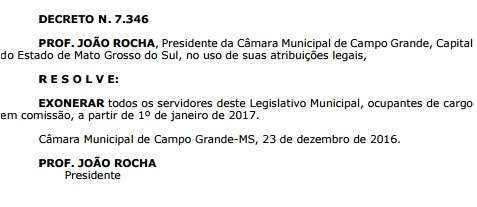 Câmara Municipal exonera todos os servidores comissionados