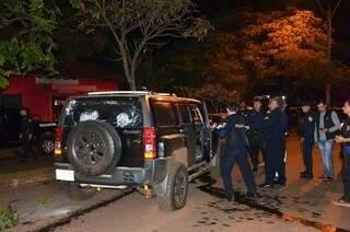 Carro de Jorge Rafaat metralhado na noite de 15 de junho deste ano (Foto: Leo Veras)