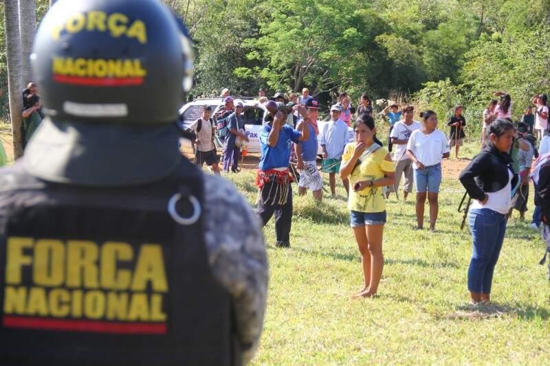 Força Nacional e exército estiveram em Ñanderu Marangatu após assassinato de indígena (Foto: Marcos Ermínio)