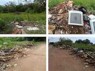 Área municipal onde há nascente do córrego Coqueiro, degradada pelo depósito de materiais e excesso de vegetação invasora (Foto: Reprodução)