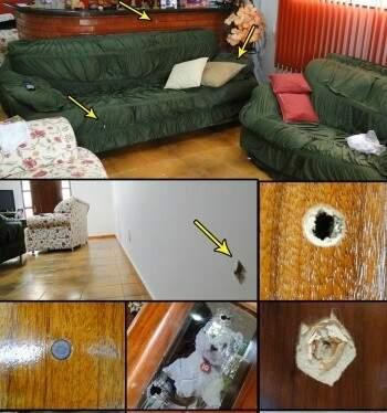 Montagem mostra as marcas de tiro na casa do prefeito(Foto: Divulgação)