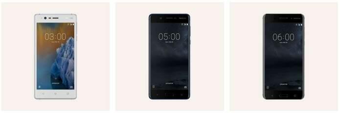 Na sequência: Nokia 3, Nokia 5 e Nokia 6 (Foto: Divulgação/Nokia)