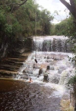 João aproveitando uma das cachoeiras. (Foto: Arquivo Pessoal)