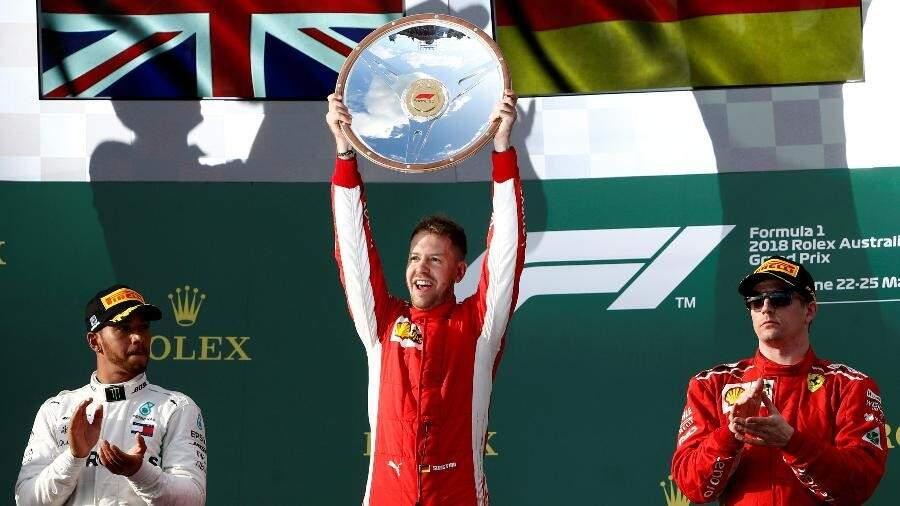 Sebastian Vettel comemora vitória na abertura do Mundial de Fórmula 1 (Foto: Brandon Malone/Reuters)