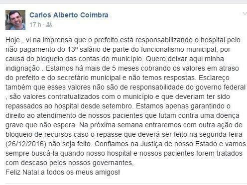 Diretor-presidente fez desabafo no perfil do Facebook. (Foto: Reprodução/Facebook)