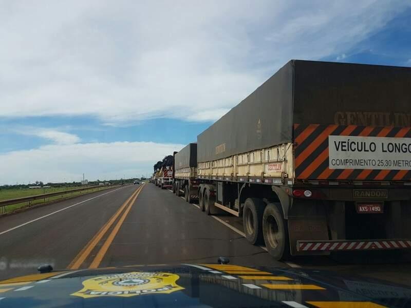 Fila de caminhões no acostamento da BR-163 em Campo Grande (Foto: divulgação / PRF)