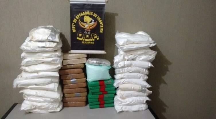 Cocaína estava distribuída em quatro mochilas e pesou 72 quilos. (Foto: Divulgação/ DOF)