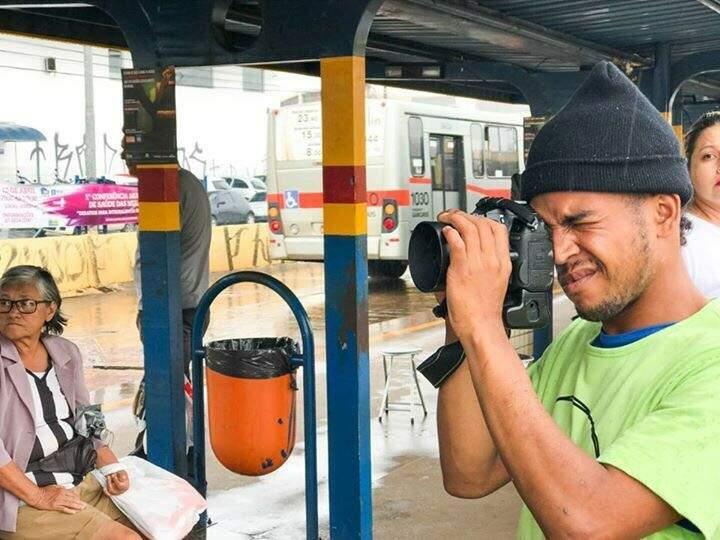 Anderson durante um projeto contra abuso no terminal de ônibus em Campo Grande.