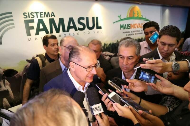 Os dois governadores estiveram presentes na abertura da Exporcorte. (Foto: Fernando Antunes)