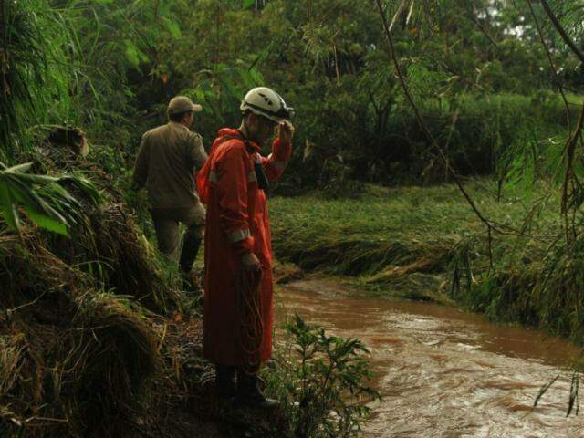 Equipes do Corpo de Bombeiros realizam buscas com mergulhadores e à beira do córrego (Foto: Alcides Neto)