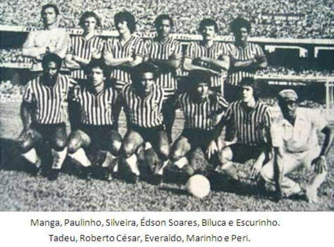 O time do Operário no primeiro jogo da semifinal do Campeonato Brasileiro de 1977 diante do São Paulo com 109.584 torcedores no Morumbi lotado (Foto: Arquivo)