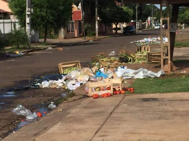 Caixa de verduras e legumes, frutas e muito papel espalhados pela rua Rouxinol (Foto: Direto das ruas)