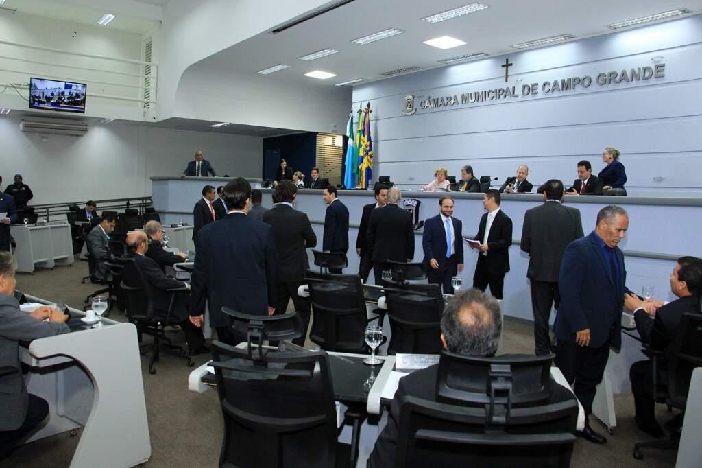 Vereadores de Campo Grande, durante sessão na Câmara Municipal (Foto: Divulgação/CMCG)