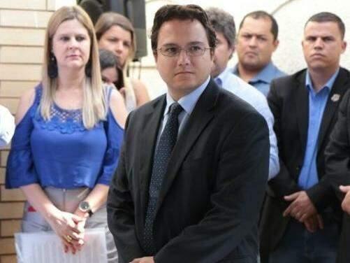 Pedro Pedrossian Neto, em evento, durante anúncio dos secretários de Marquinhos Trad (Foto: Fernando Antunes)