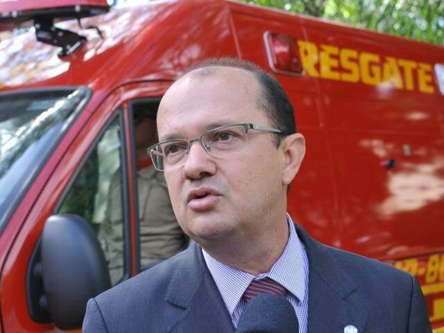 Secretário José Carlos Barbosa no evento de entrega de viaturas na manhã de hoje. (Foto: Alcides Neto)