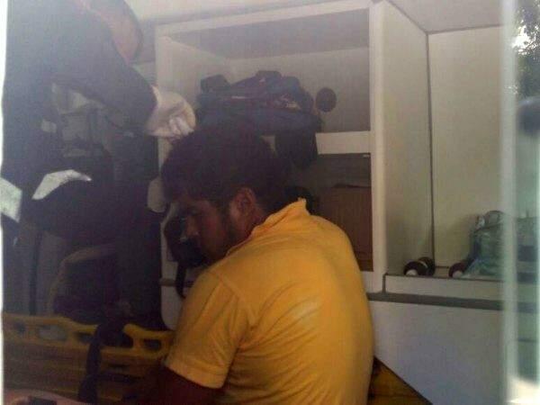 Sérgio Cassiano, 22 anos, teve que ser socorrido pela Samu. (Foto: Wiilian Leite)