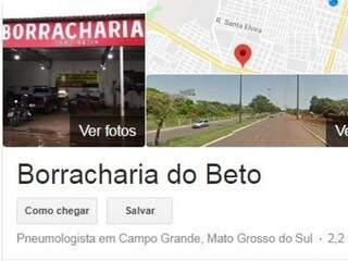 Print do Google onde aparece especialidade de borracharia embaixo do nome (Foto: Reprodução)