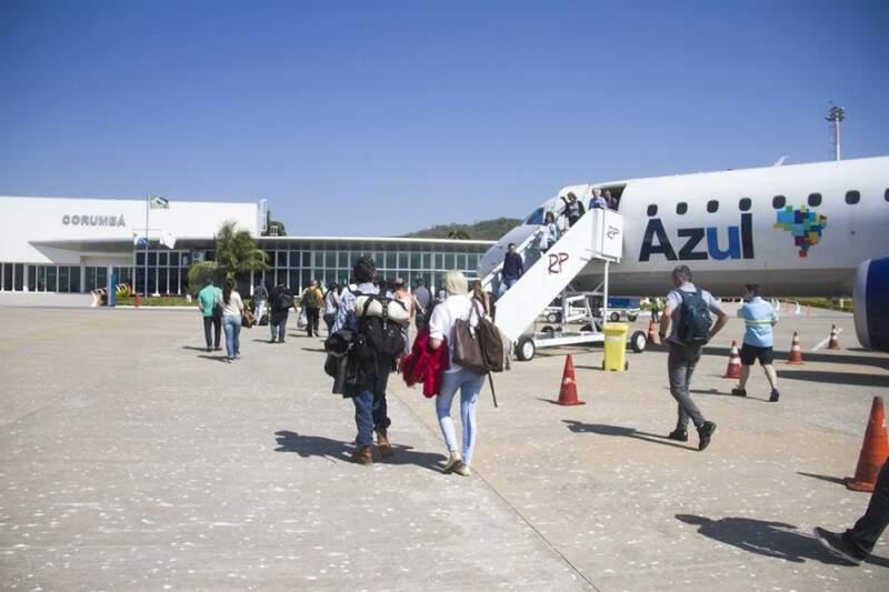 Azul opera voos entre Corumbá e São Paulo há um ano e meio. (Foto: Prefeitura)