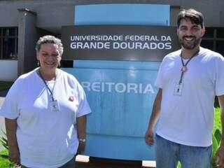 Liane Maria Calarge, nova reitora da Universidade Federal da Grande Dourados, com seu vice Marcio de Barros (Foto: Arquivo)