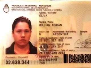 Documento de identidade do turista argentino assassinado na fronteira (Reprodução)