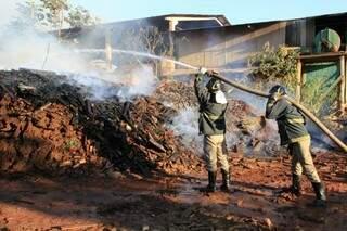 As chama atingiram um amontoado de ripas (Foto: Marcos Ermínio)
