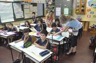 Na Escola Municipal Geraldo Castelo, os 545 alunos estão com aula normal. Os professores decidiram não aderir a greve, como quase 50% da Reme. (Foto: Marcelo Calazans)