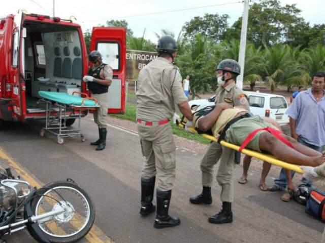 Um deles foi encaminhado com escoreações para o Hospital Regional em Coxim. (Foto: PC de Souza/Edição de Notícias)