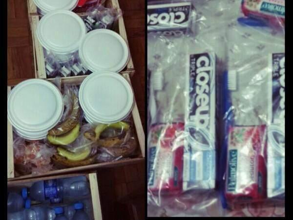 Entre os itens doados, estão desde alimentos até sabonetes (Foto: Direto das Ruas)