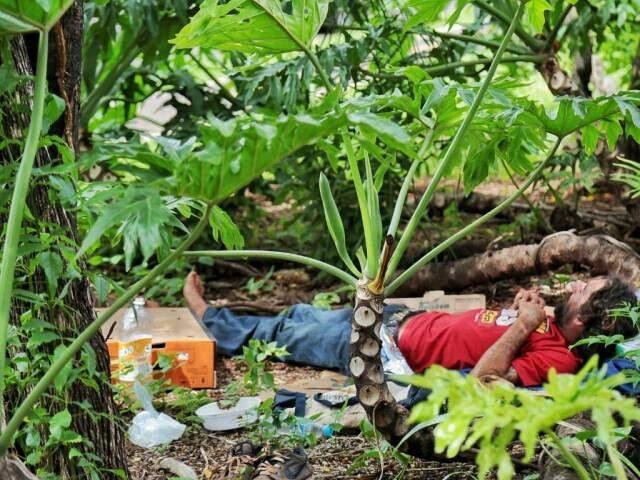 Homem dormia em canteiro central da Avenida Afonso Pena. (Foto: Fernando Antunes)