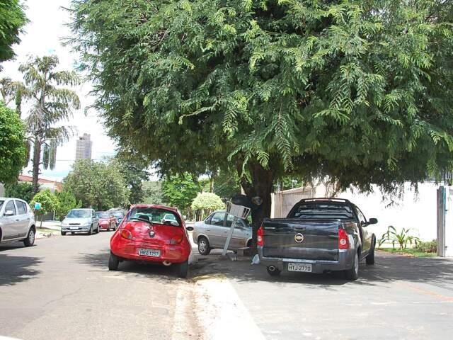 Em outro local, motorista ignora calçada e estaciona na sombra. (Foto: Marlon Ganassin)