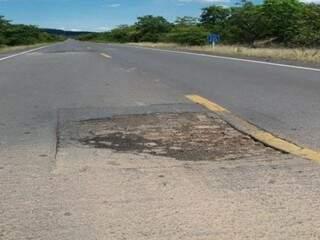 Trecho da BR-267 em Mato Grosso do Sul que será recuperado após licitação do Dnit (Foto: Reprodução/Dnit)