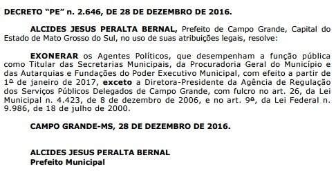 Decreto foi publicado no Diogrande desta quinta-feira. (Foto: Reprodução/Prefeitura de Campo Grande)