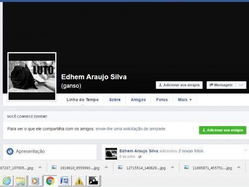 Foto de perfil de Edhen foi trocada por imagem de luto. (Foto: Reprodução/ Facebook)