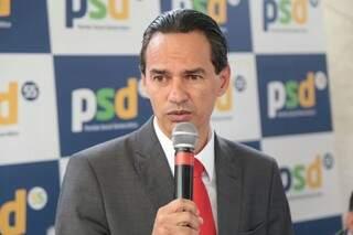 Prefeito eleito de Campo Grande, Marquinhos Trad, durante anúncio do secretariado de seu governo. (Foto: Fernando Antunes)
