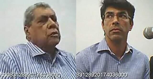 André Puccinelli e o filho durante audiências de custódia em novembro do ano passado, quando foram presos pela primeira vez (Foto: Reprodução)