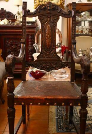 Cadeira com assento de coura no estilo renascença. (Foto: André Bittar)