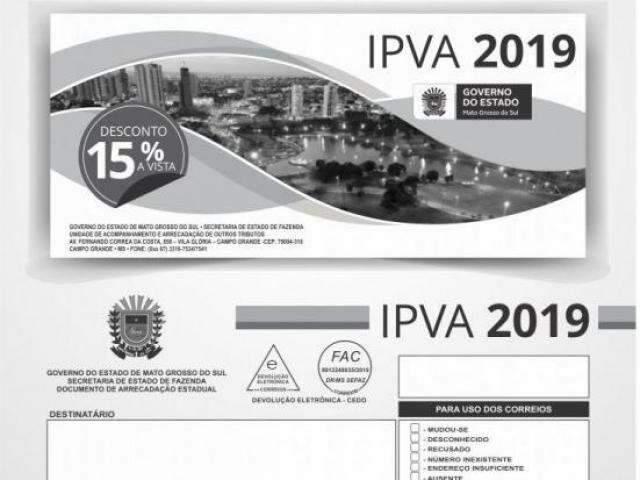 Governo de MS inicia entrega de 1,5 milhão de boletos do IPVA-2019