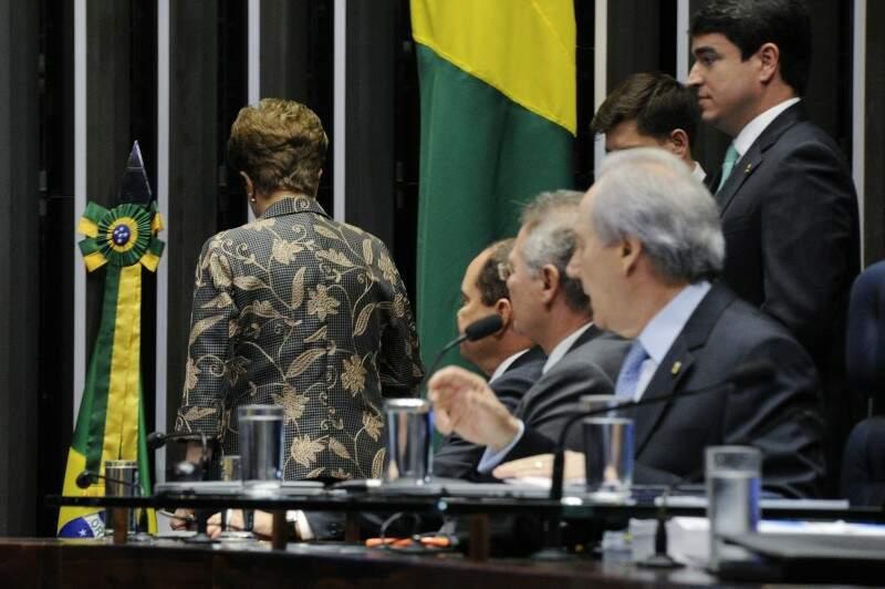 Dilma durante sua defesa no Senado. (Foto: Divulgação/Agência Senado)