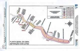 Imagem mostra trecho de obras. Prioridade são lotes 1,2 e 3. (Fonte: Prefeitura de Campo Grande)