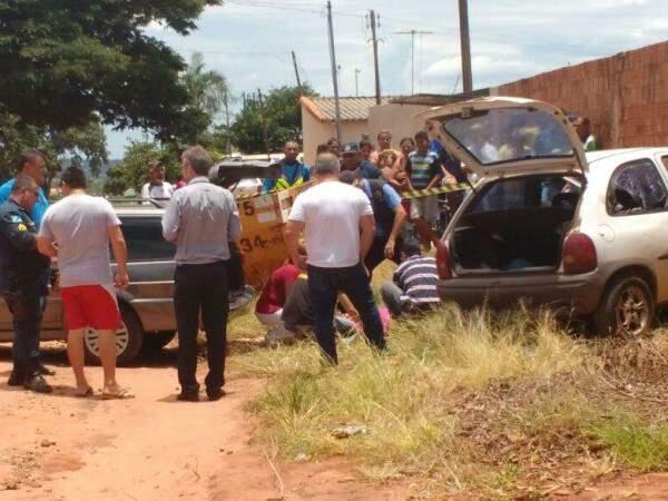 Cena do crime, que aconteceu por volta das 10h30 (Foto: Rafael Ribeiro)