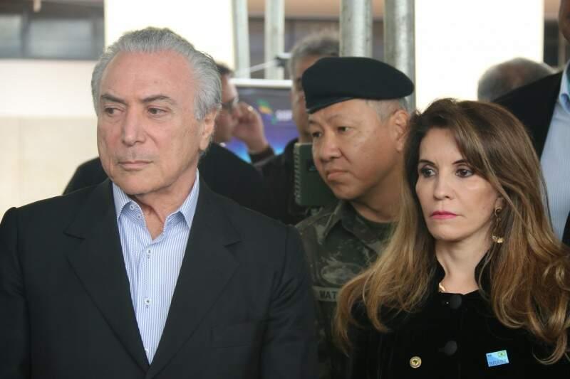 Ao lado de Antonieta, Michel Temer acompanha apresentação do Sisfron. (Foto: Fernando Hassessian)