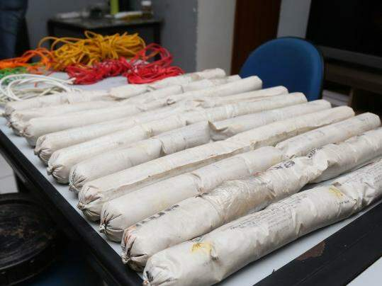 Explosivos roubados de pedreira são semelhantes aos da foto, apreendidos pelo Garras em junho deste ano, com quadrilha responsável por furto a banco em Sonora. (Foto: Fernando Antunes/ Arquivo)