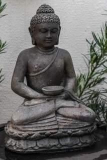 Buda no jardim mostra que todo o amor da proprietária pela cultura indiana